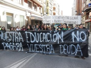 Manifestación en defensa de la educación pública. Ponferrada, 27 marzo 2014. Fuente: ecobierzo.org.